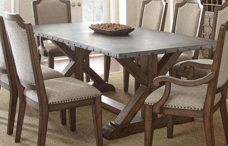 Wayland Brushed Tobacco Metal Top Rectangular Dining Table