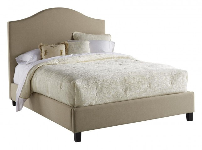 Queen Upholstered Saddle Back Bed