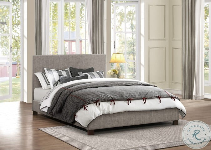 Chasin Grey Fabric Queen Upholstered Platform Bed