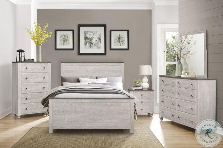 Nashville Antique White and Brown Panel Bedroom Set
