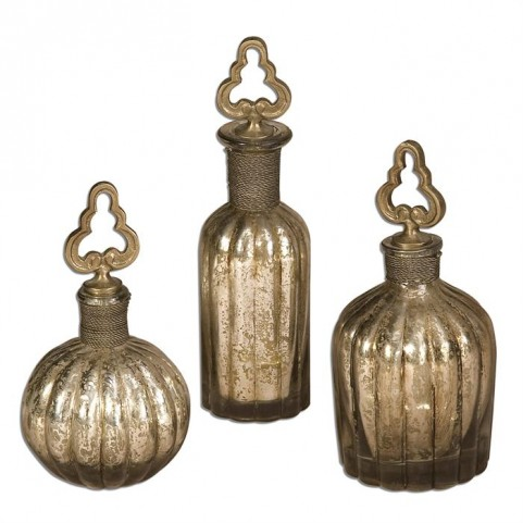 Kaho Antique Silver Perfume Bottles Set of 3