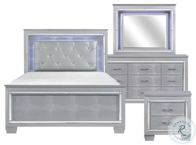 Allura Silver Queen Upholstered Panel Bed