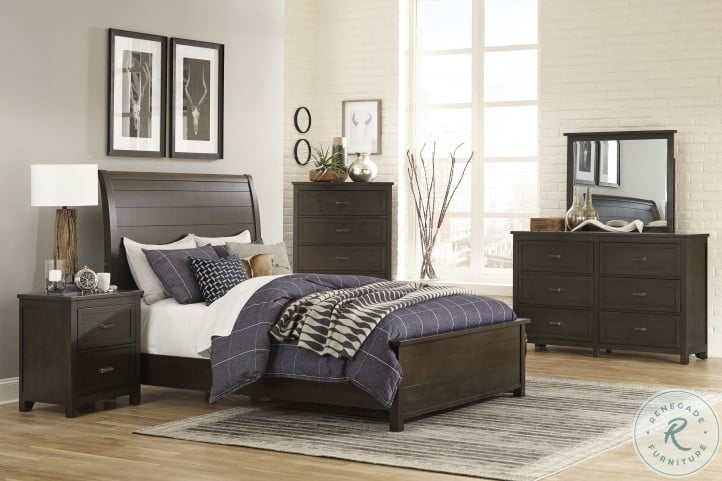 Hebron Dark Cherry Sleigh Bedroom Set