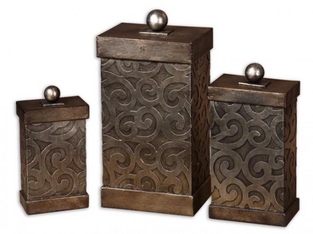 Nera Metal Decorative Boxes, Set of 3