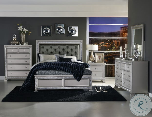 Bevelle Silver King Upholstered Panel Bed