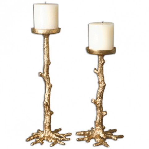 Maple Gold Candle Holders Set of 2