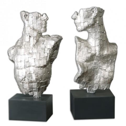 Eros Silver Sculptures Set of 2