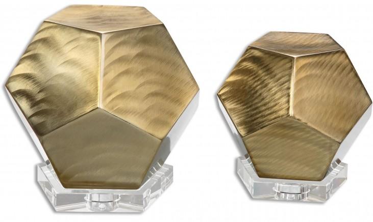 Pentagon Coffee Bronze Cubes Set of 2