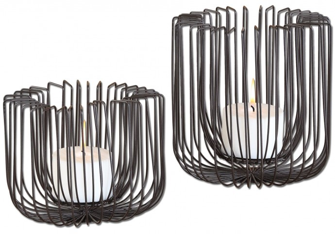 Flare Black Wire Candleholders Set of 2