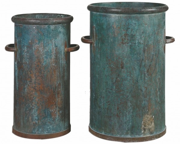 Barnum Tarnished Copper Cans Set of 2