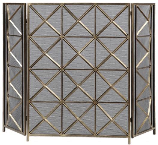 Akiva Champagne Fireplace Screen
