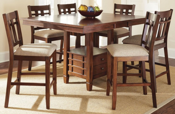 Bolton Extendable Square Counter Height Storage Dining Room Set