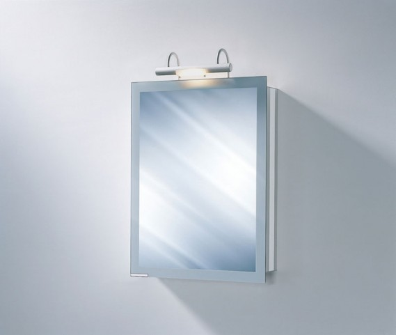 """Axara 19"""" Hinge Right White Mirror Cabinet with Halogen Lamp"""