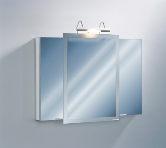 "Axara 39"" Hinge Left Anodized Mirror Cabinet with Halogen Lamp"