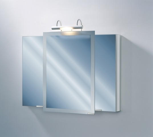 """Axara 39"""" Hinge Right White Mirror Cabinet with Halogen Lamp"""