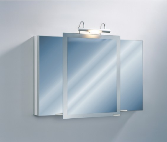 "Axara 47"" Hinge Left Anodized Mirror Cabinet with Halogen Lamp"
