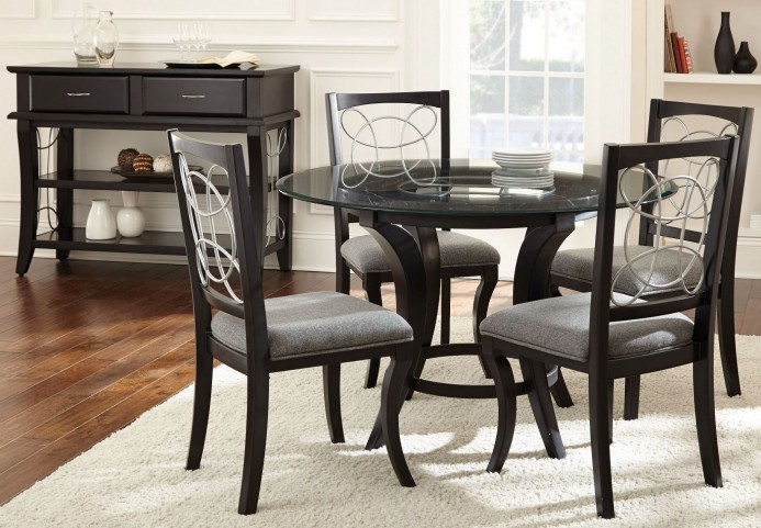 Cayman Glass Top Round Dining Room Set
