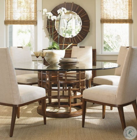 Island Fusion 72 Meridian Round Glass Dining Room Set From Tommy Bahama Coleman Furniture