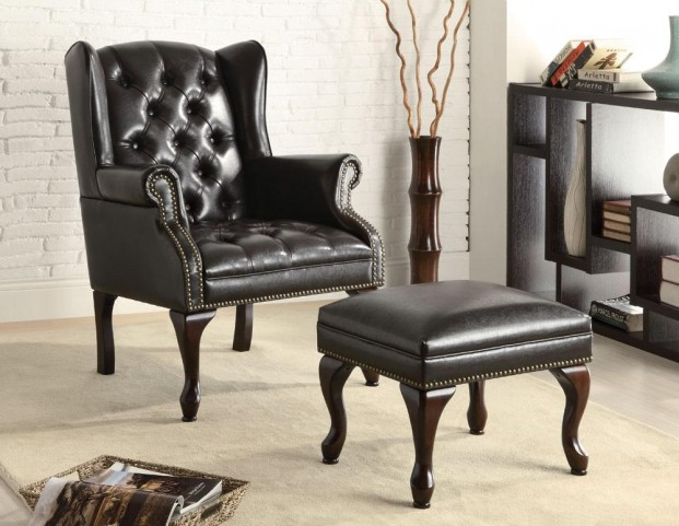 Wing Chair with Ottoman in Black Vinyl - 900262