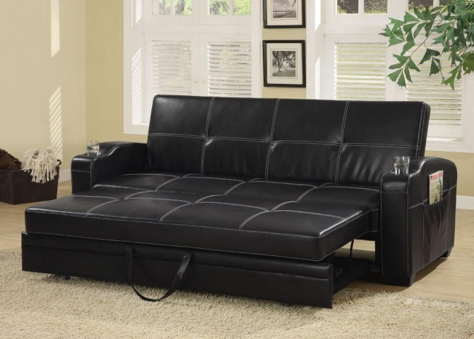 Faux Leather Sofa Bed With Storage And Cup Holders