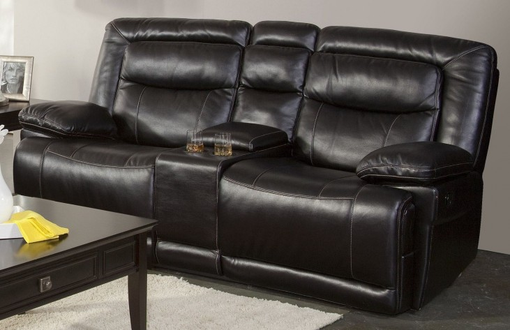 Torino Premier Black Dual Reclining Loveseat with Console