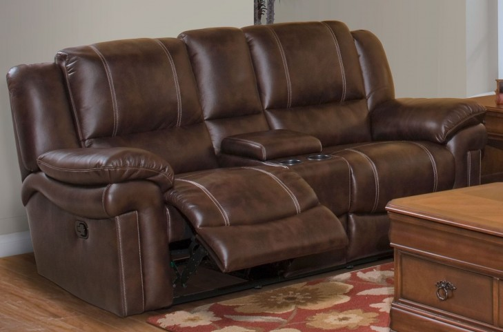 Hastings Summit Brown Dual Reclining Loveseat with Console
