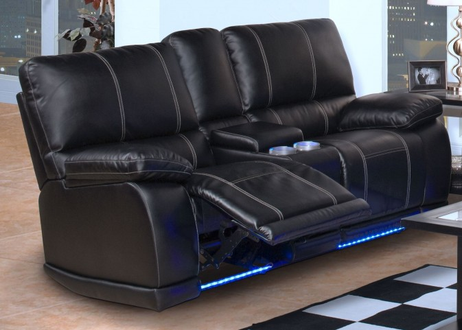 Electra Mesa Black Power Reclining Loveseat with Console