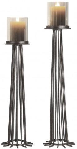 Bardo Aged Iron Candleholders Set of 2