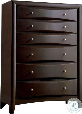 Phoenix Deep Cappuccino Storage Bookcase Bedroom Set