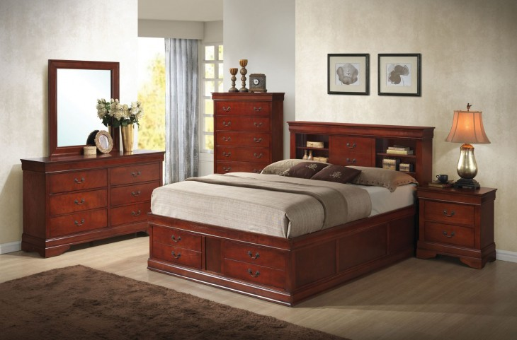 Louis Philippe Cherry Storage Bedroom Set