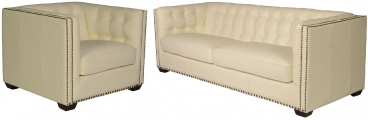 Belarie White Leather Living Room Set