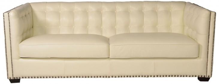 Belarie White Leather Sofa