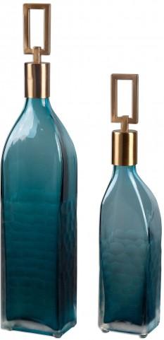 Annabella Teal Glass Bottles Set of 2