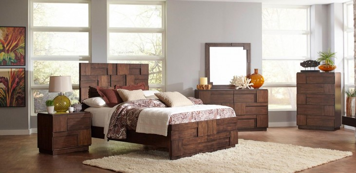 Gallagher Golden Brown Panel Bedroom Set