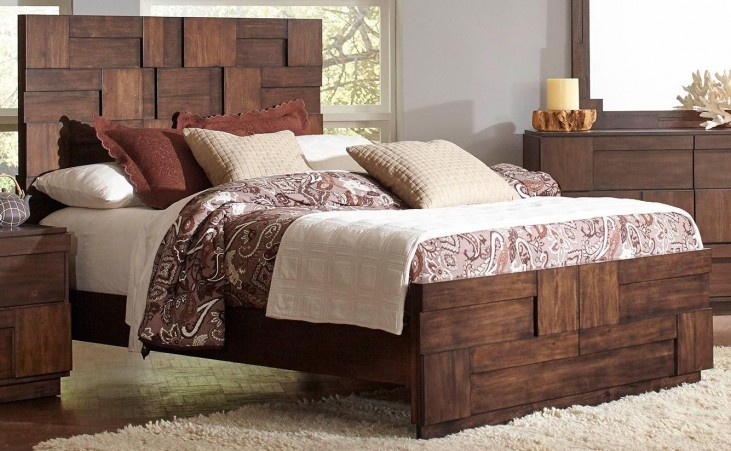 Gallagher Golden Brown Queen Panel Bed