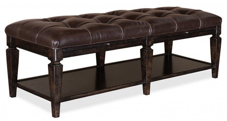 Classic Tufted Leather Bench
