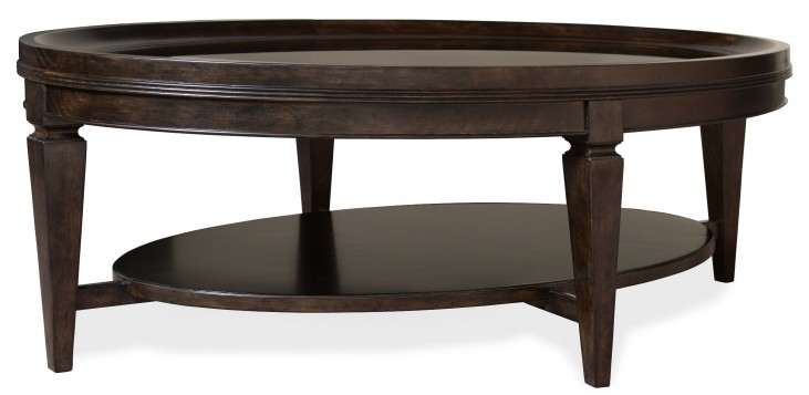 Classic Glass Top Oval Cocktail Table