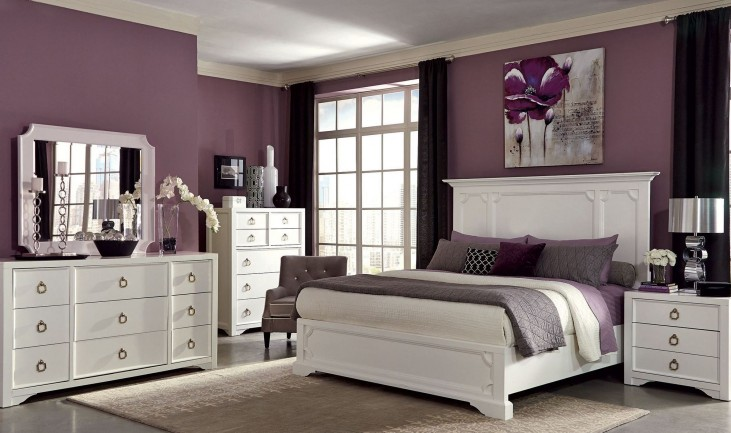 Furiani White Panel Bedroom Set