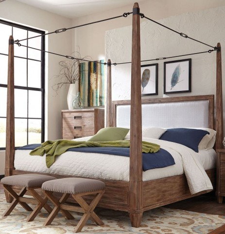 Madeleine Smoky Acacia King Canopy Bed by Donny Osmond