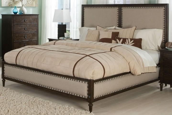 Saville Dark Oak Queen Panel Bed