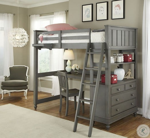 Lake House Stone Youth Loft Bedroom Set with Desk from NE Kids