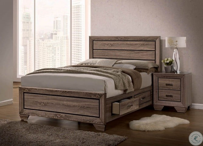 Kauffman Washed Taupe King Storage Panel Bed