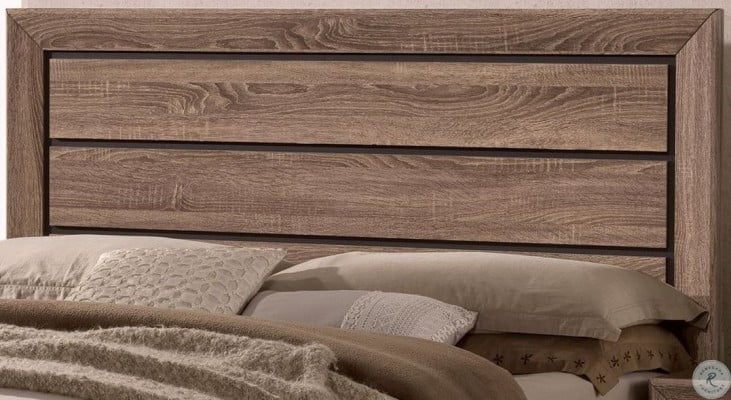 Kauffman Washed Taupe Queen Panel Storage Bed
