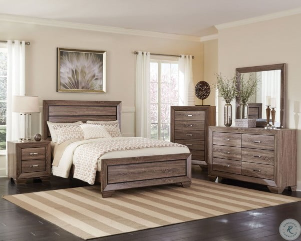 Kauffman Washed Taupe Panel Bedroom Set