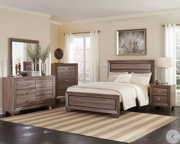 Kauffman Washed Taupe King Panel Bed