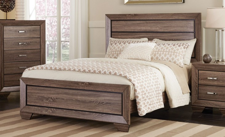 Kauffman Washed Taupe Queen Panel Bed