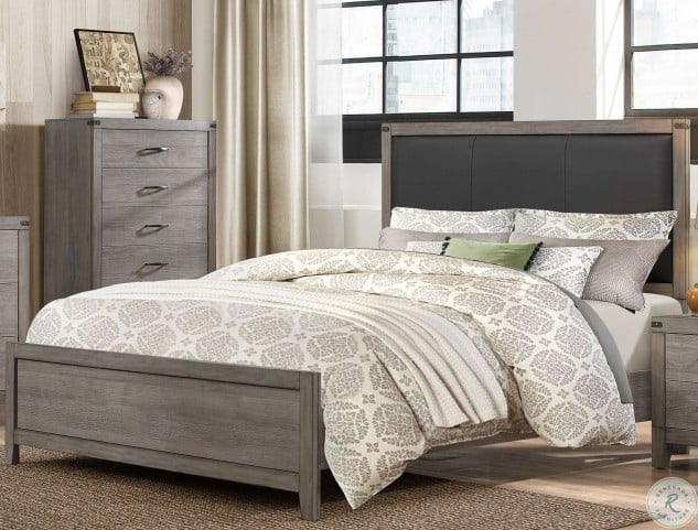 252107eaa LOOKS GREAT WITH. Image of item Woodrow Black Full Upholstered Panel Bed
