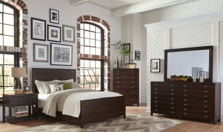 Lanchester Cocoa Panel Bedroom Set