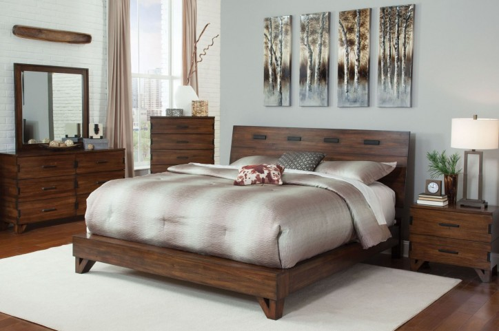 Yorkshire Dark Amber Platform Bedroom Set