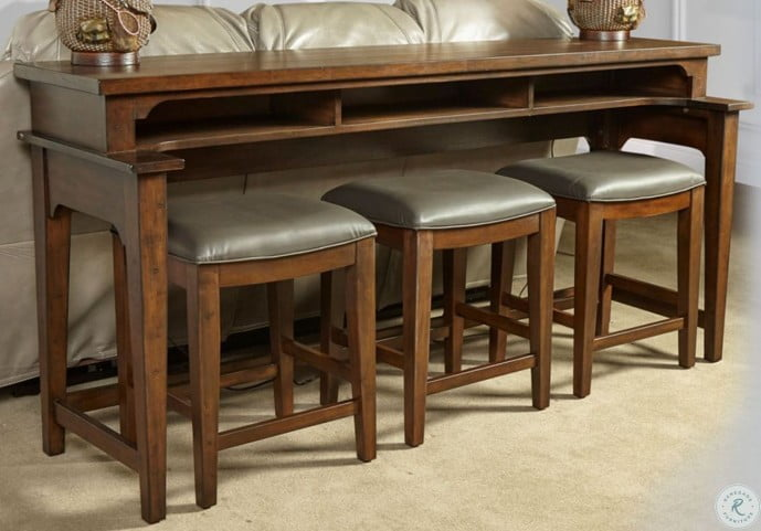 Richmond Orange Brown Console Bar Table Set